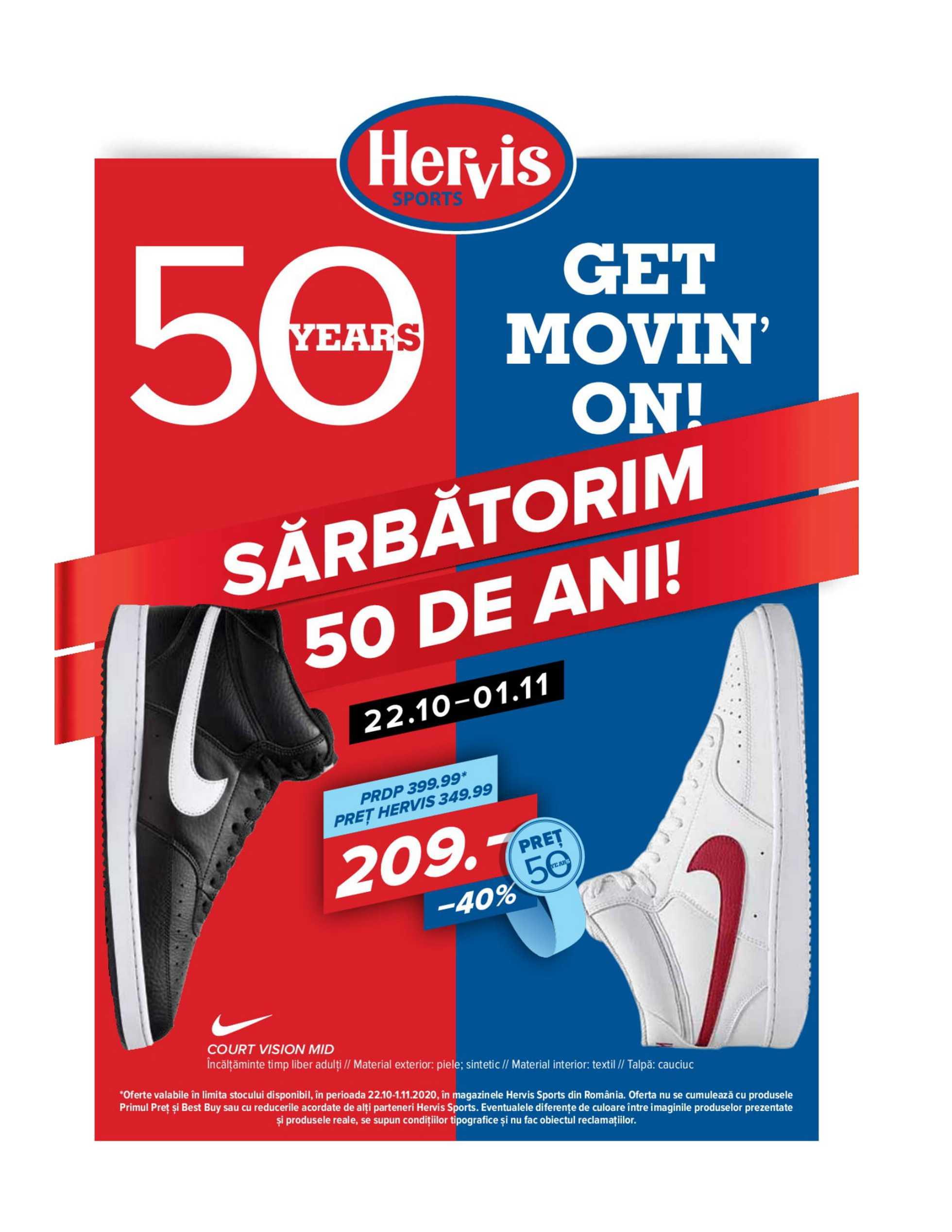 Hervis Sports - promo începând de la 22.10.2020 până la 01.11.2020 - pagină 1.